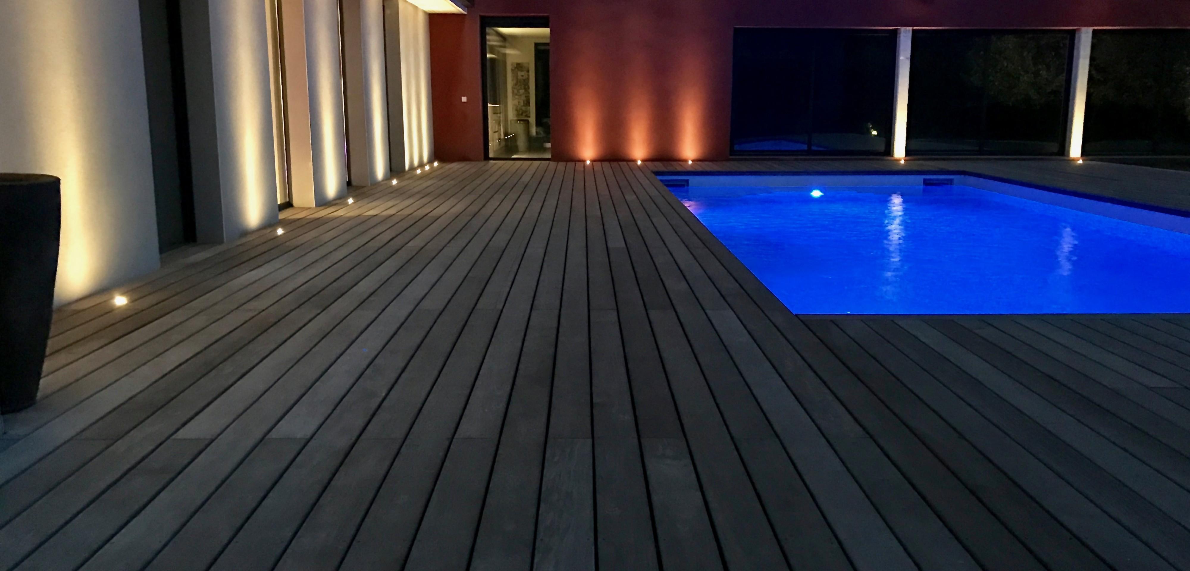 Quel Est Le Meilleur Bois Pour Terrasse relookage d'une plage de piscine : éclairage d'un tour de